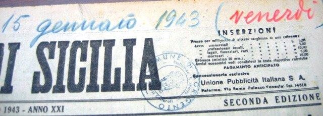 Giornale di Siclia 15 gennaio 1943: la Befana Fascista a Porto Empedocle