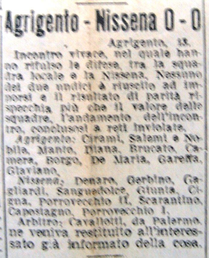 Giornale di Sicilia 11 gennaio 1947. Sport: Agrigento batte il Nissena