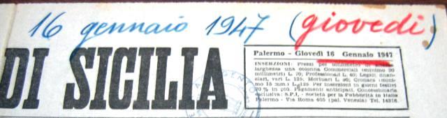 Giornale di Sicilia 16 gennaio 1947. Eletti ad Agrigento i nuovi componenti della Camera di Commercio
