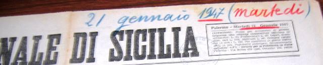 Giornale di Sicilia 21 gennaio 1947. Ucciso a Burgio un capo banda