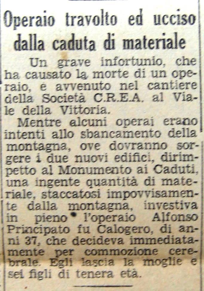 Giornale di Sicilia 18 gennaio 1947. Vittima del lavoro ad Agrigento
