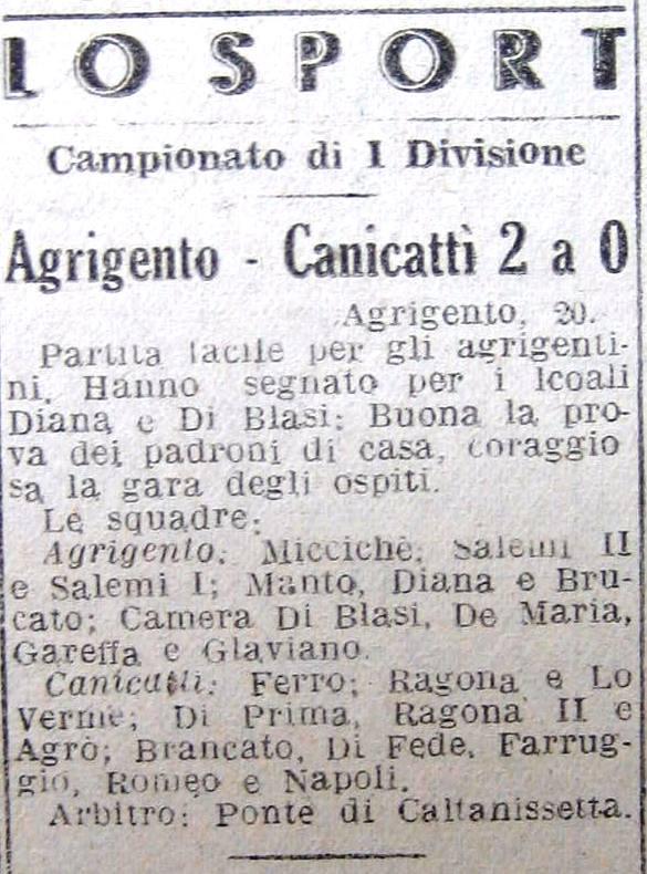 Giornale di Sicilia 21 gennaio 1947. Calcio: Agrigento batte Canicattì