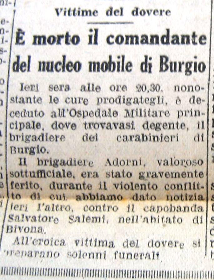 Giornale di Sicilia 23 gennaio 1947. Muore a Burgio Brigadiere. Vittima del dovere