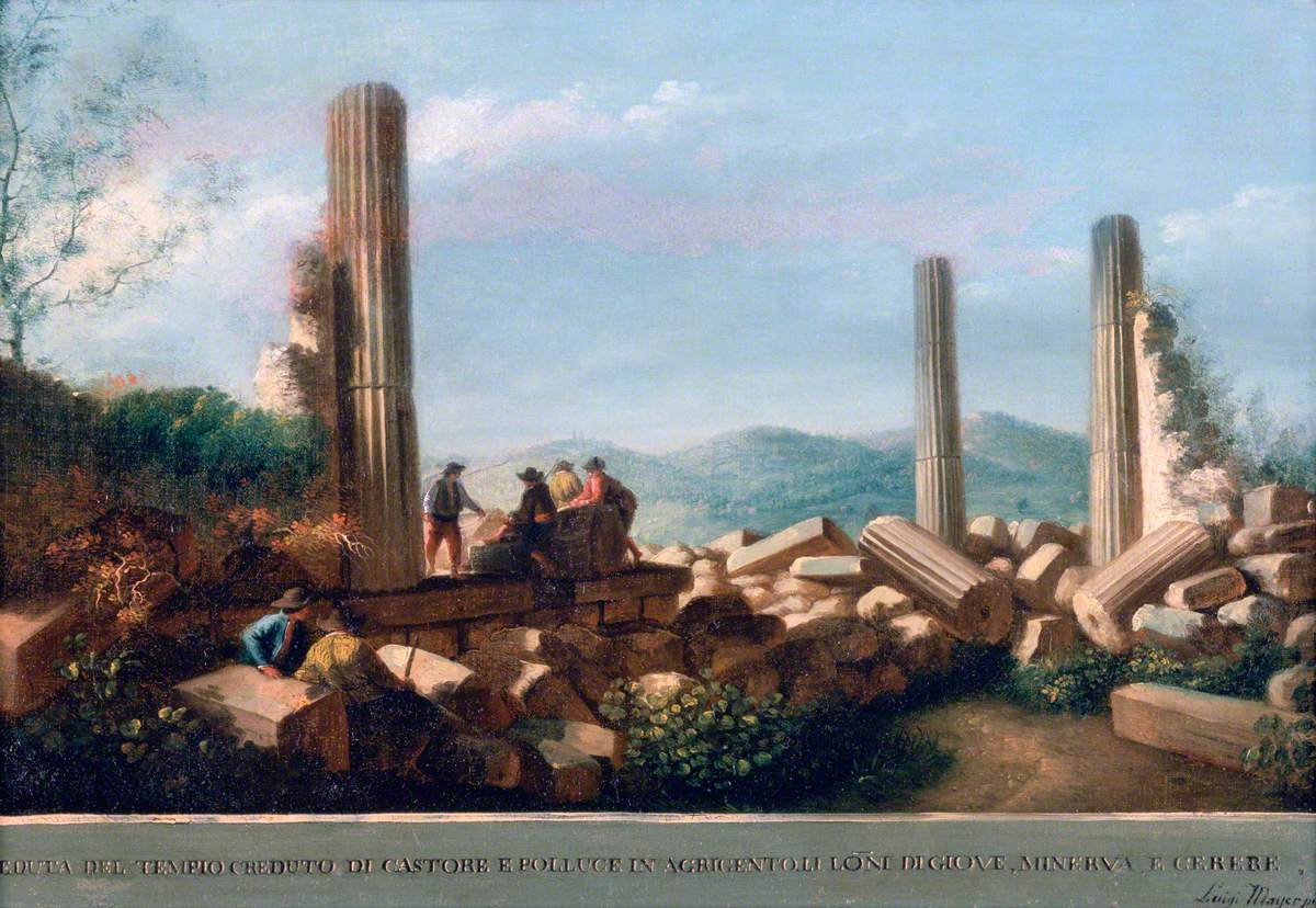Mayer, Luigi; View of the Remains of the Temple (supposed to be of Castor and Pollux) in Agrigentum ; Sir John Soane's Museum; http://www.artuk.org/artworks/view-of-the-remains-of-the-temple-supposed-to-be-of-castor-and-pollux-in-agrigentum-