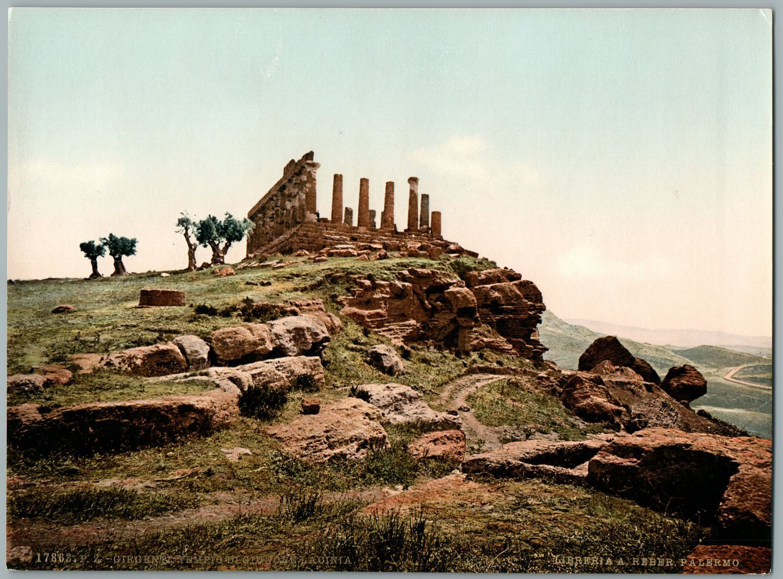 Sicilia. Girgenti. Tempio di Giunone Lacinis. PZ vintage photochromie, Italia.JPG