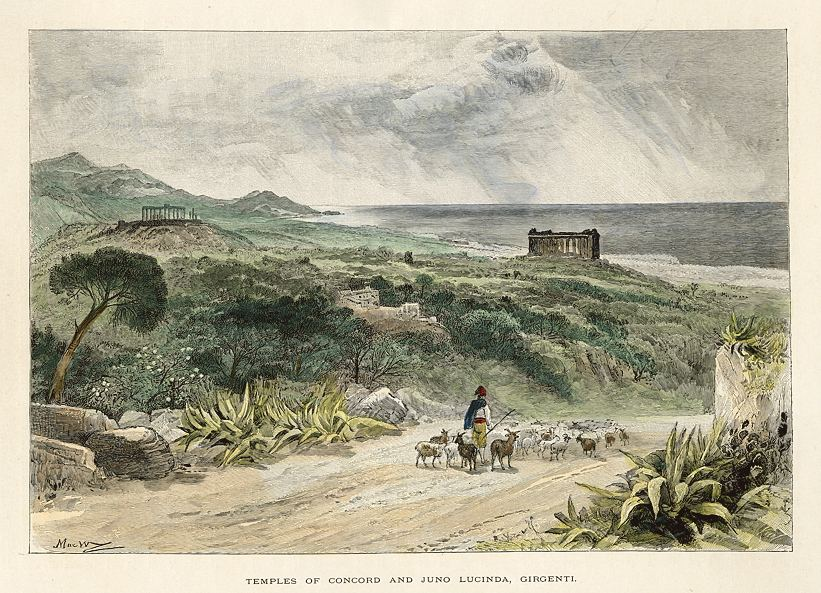 Templi e Mura di Agrigento in uno studio dell'Ottocento