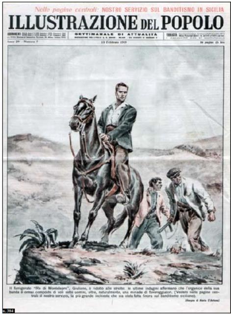 copertina sul bandito giuliano dell'illustrazione italiana