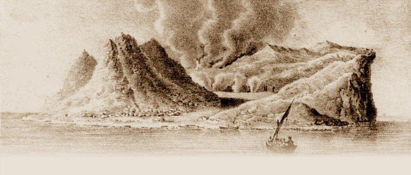 isola fedinandea in una stampa dell'epoca