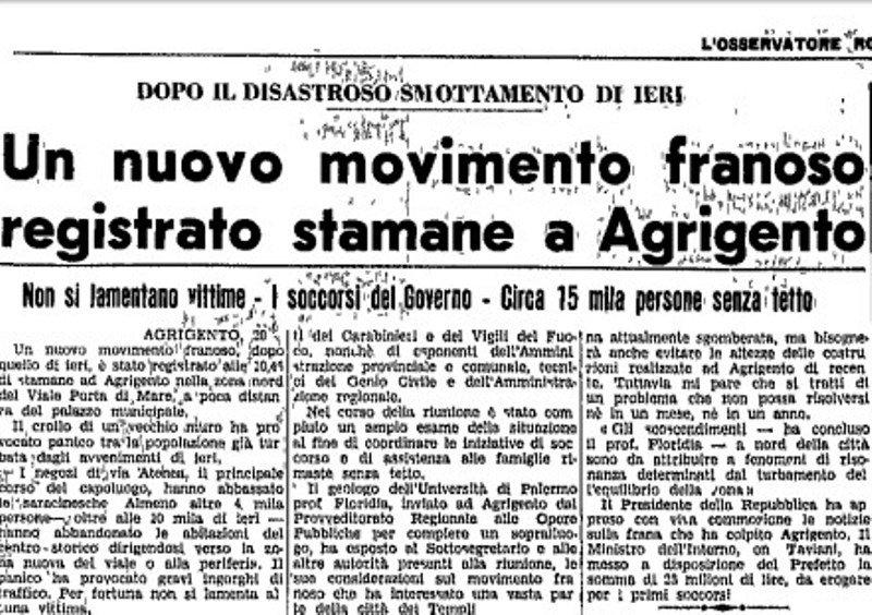 """La Frana di Agrigento del 1966 raccontata dal giornale del Vaticano """"L'Osservatore Romano"""".Fotogalleria"""