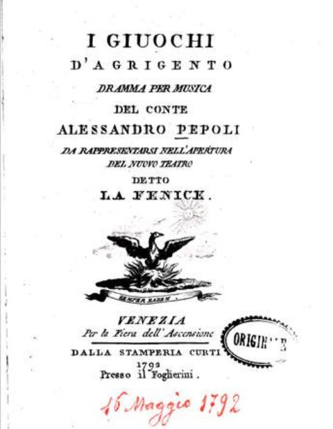 """Il dramma """" I Giuochi di Agrigento"""" inaugurò il teatro La Fenice di Venezia"""