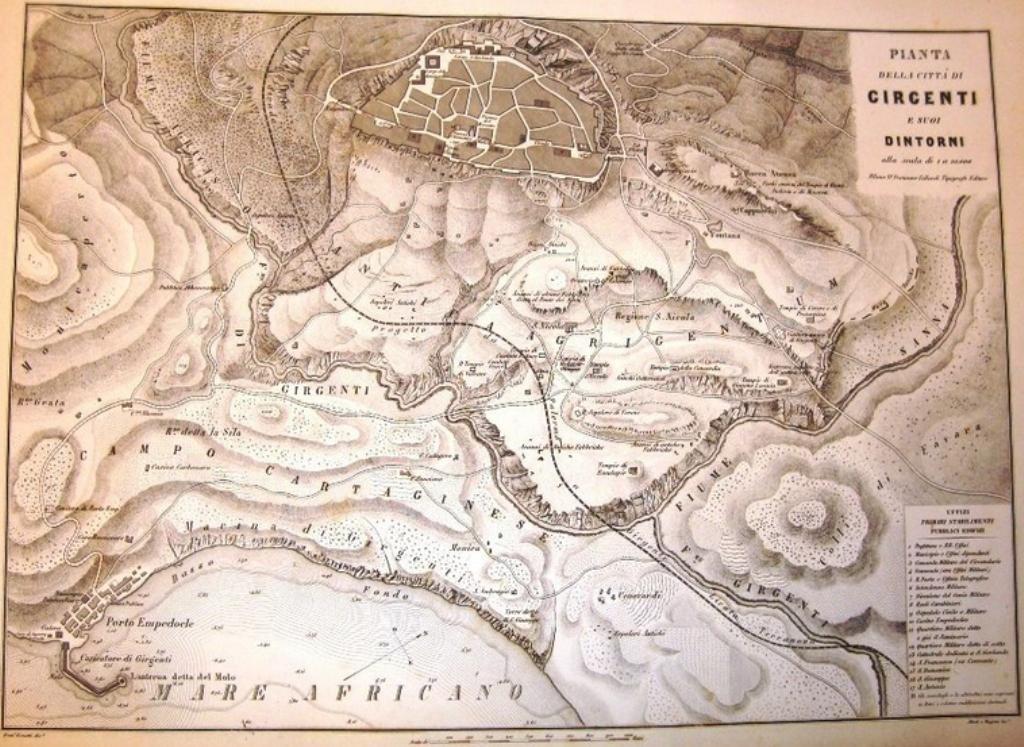 Fiumi, laghi e stagni in provincia di Agrigento alla fine dell'Ottocento
