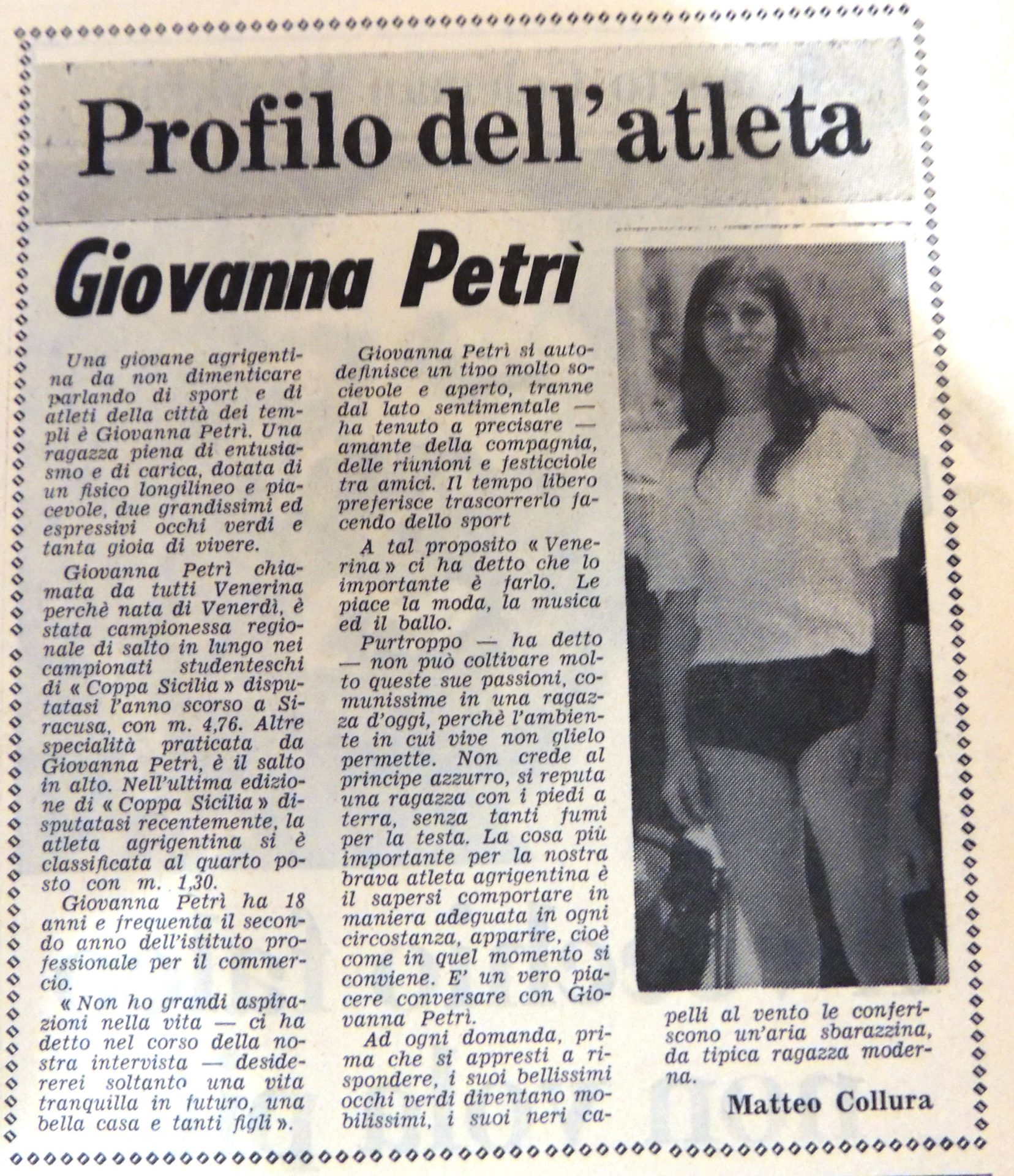 Agrigento Sport. Campioni d'altri tempi. Giovanna Petrì (atletica leggera)