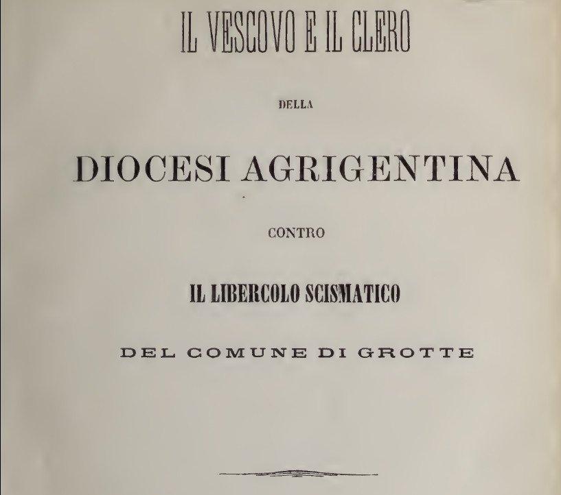 Contro lo Scisma di Grotte: la lettera del Vescovo di Agrigento, monsignor Turano